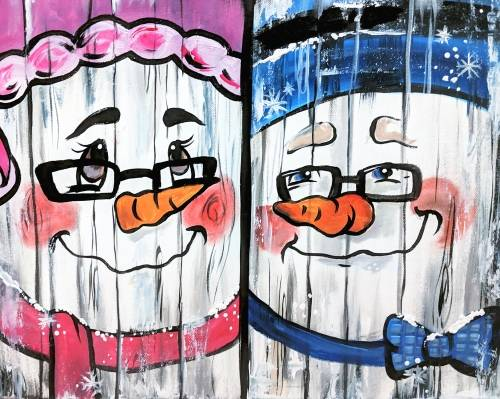 A Paint Your Partner As A Snowman  Barn Wood Style Partner Painting paint nite project by Yaymaker