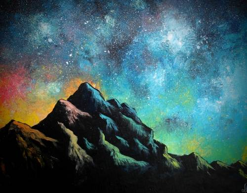 A Starry Rainbow Mountain paint nite project by Yaymaker