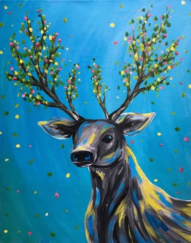 A Antlers in Bloom paint nite project by Yaymaker