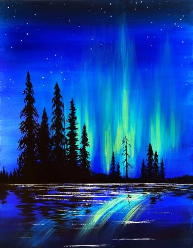 A Northern Lights On The Lake paint nite project by Yaymaker