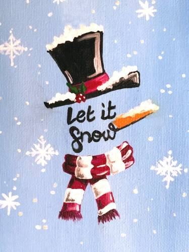 A Let it Snow Snowman paint nite project by Yaymaker