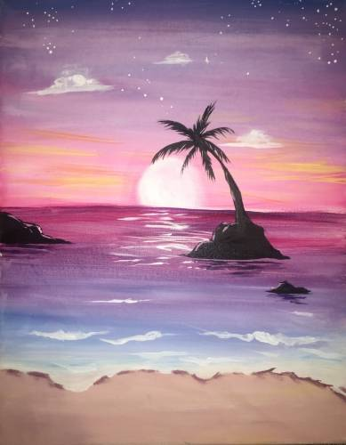 A Sherbet Sunrise Over The Beach paint nite project by Yaymaker