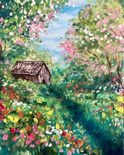 A Past the Crabapple Trees paint nite project by Yaymaker