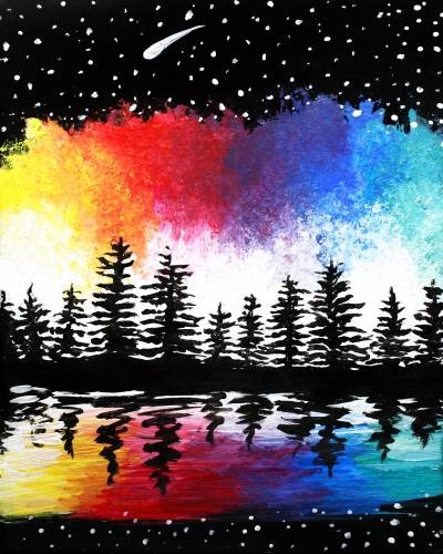 A Colorful Galaxy Pines paint nite project by Yaymaker