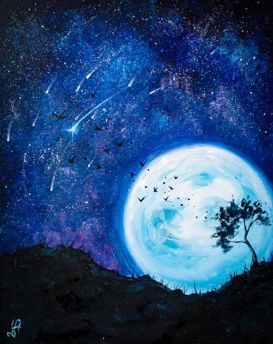 A Blue Moon Starry Night paint nite project by Yaymaker