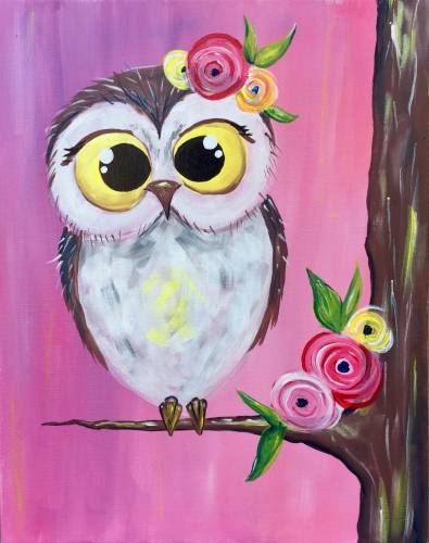 A Spring Owl Cutie Patootie paint nite project by Yaymaker