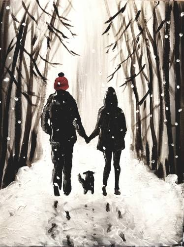A Love in the Winter paint nite project by Yaymaker