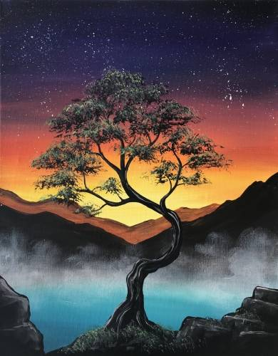 A Misty Mountain Sunset II paint nite project by Yaymaker