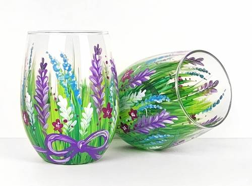 A Wild Flowers and Purple Ribbon Stemless Wine Glasses paint nite project by Yaymaker
