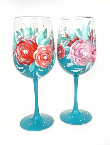 A Blue Wine Glasses with Roses paint nite project by Yaymaker