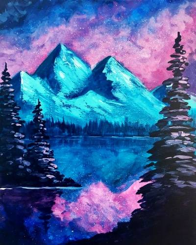 A Galaxy Landscape paint nite project by Yaymaker
