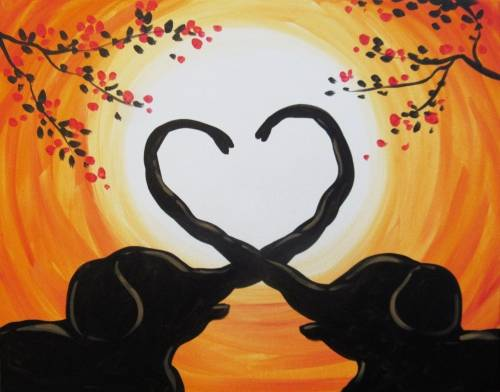 A Sunset Elephant Love paint nite project by Yaymaker