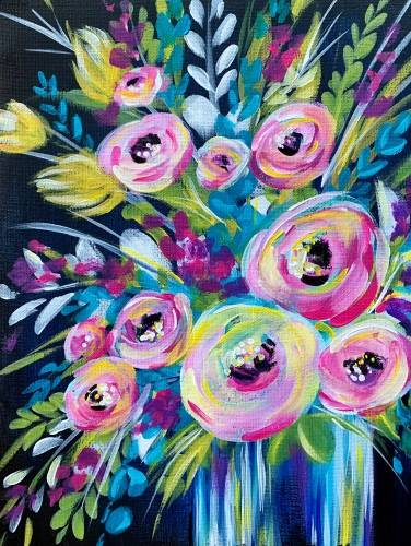 A Colorful Spring Bouquet paint nite project by Yaymaker