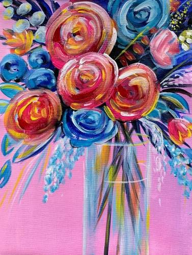 A Red and Blue Rose Bouquet paint nite project by Yaymaker