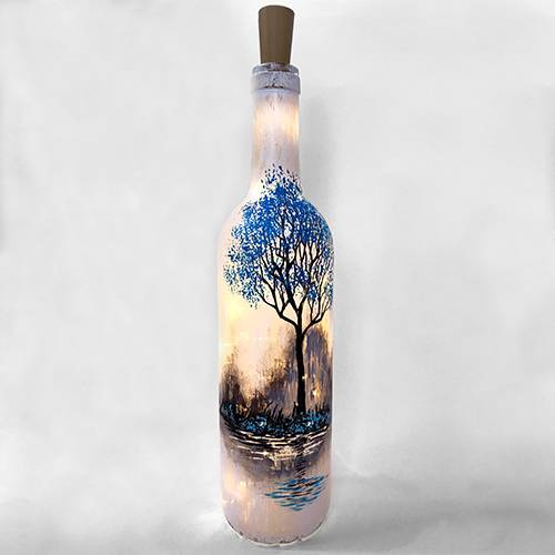 A Forest Reflection Wine Bottle With Fairy Lights paint nite project by Yaymaker