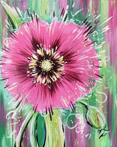 A Pink Spring Flower paint nite project by Yaymaker