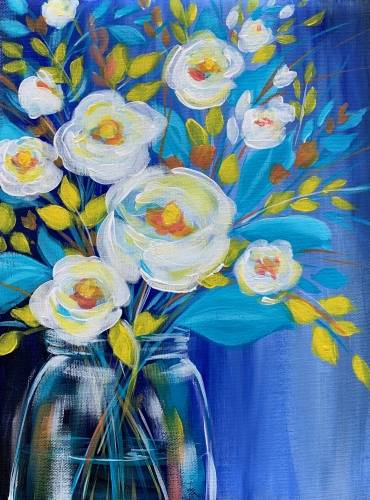A Blue Magnolia Bouquet paint nite project by Yaymaker