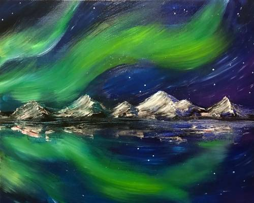 A Northern Lights  Cold Nights paint nite project by Yaymaker