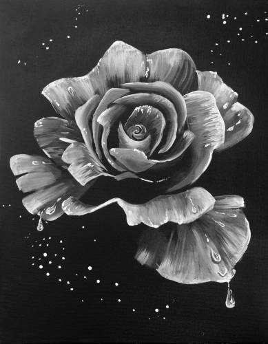 A Dewy Rose Black and White II paint nite project by Yaymaker