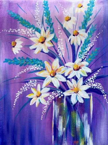 A Spring Daisy Bouquet paint nite project by Yaymaker