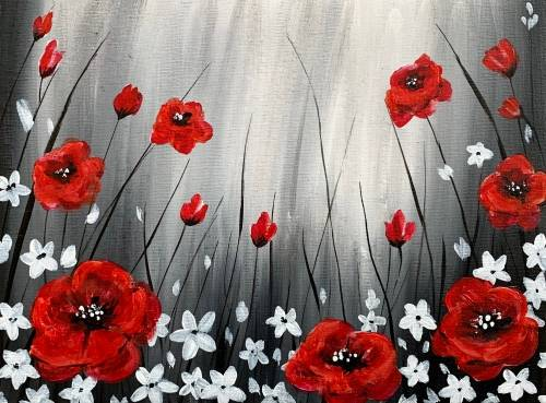 A Field of Red Poppies paint nite project by Yaymaker