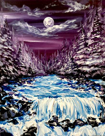 A Midnight Waterfalls paint nite project by Yaymaker