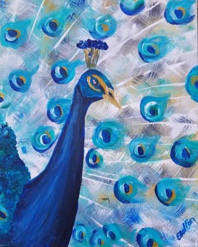 A Beautiful Blue Peacock II paint nite project by Yaymaker