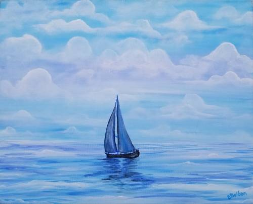 A Sailing the Beautiful Blue paint nite project by Yaymaker
