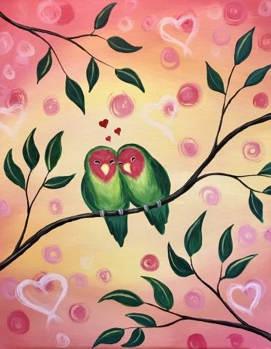 A Lover Birds paint nite project by Yaymaker
