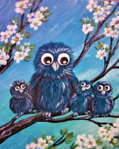 A Three Hoots for Mom paint nite project by Yaymaker