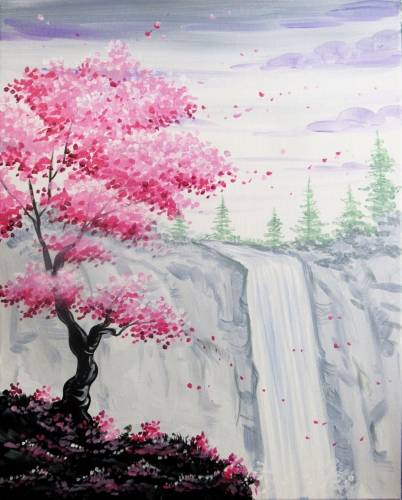 A Serene Blossom Cliff paint nite project by Yaymaker