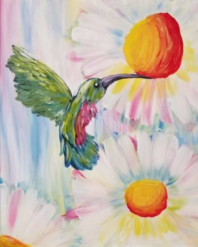 A Spring Time Hummingbird paint nite project by Yaymaker