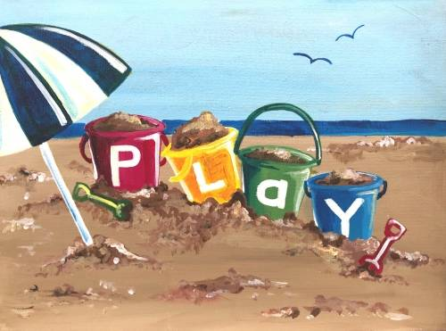 A Play at the Beach paint nite project by Yaymaker