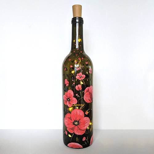 A Red and Gold Poppies Wine Bottle with Fairy Lights paint nite project by Yaymaker