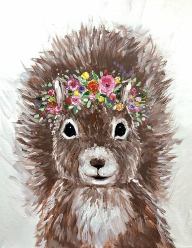 A Squirrel with a Floral Crown paint nite project by Yaymaker