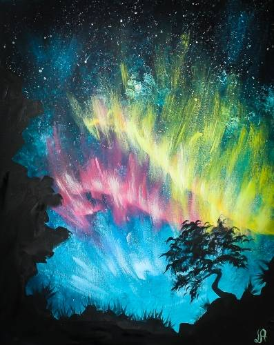 A Lone Aurora Tree paint nite project by Yaymaker