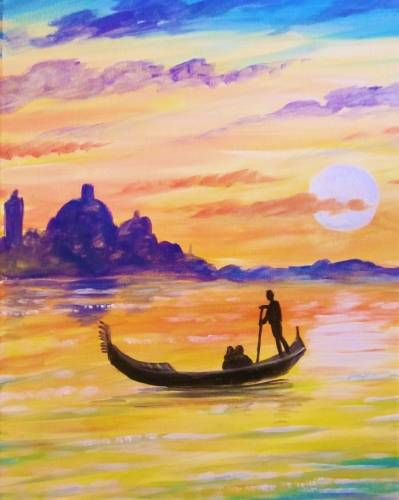 A Sunset Ride in Venice paint nite project by Yaymaker