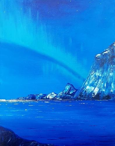 A Cliff Side Northern Lights paint nite project by Yaymaker