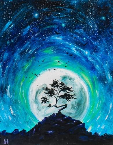 A Blue Moon Starry Night II paint nite project by Yaymaker
