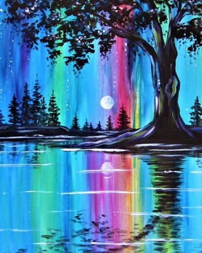 A Moonlit Trees in Technicolor paint nite project by Yaymaker