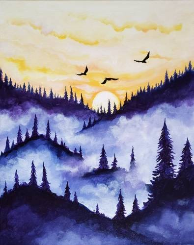 A Misty Forest Flight paint nite project by Yaymaker