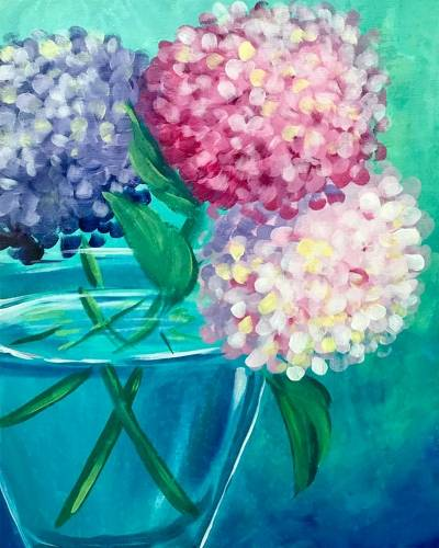 A Happy Hydrangeas paint nite project by Yaymaker