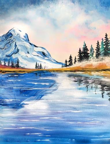 A Sunrise Mountain Glow paint nite project by Yaymaker