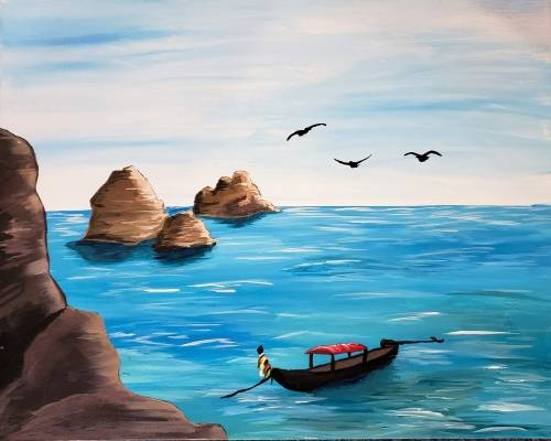 A Thai Boat Rocks paint nite project by Yaymaker