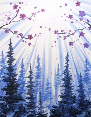 A Purple Blossoms Over Pines paint nite project by Yaymaker