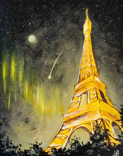 A Glowing Night Paris paint nite project by Yaymaker