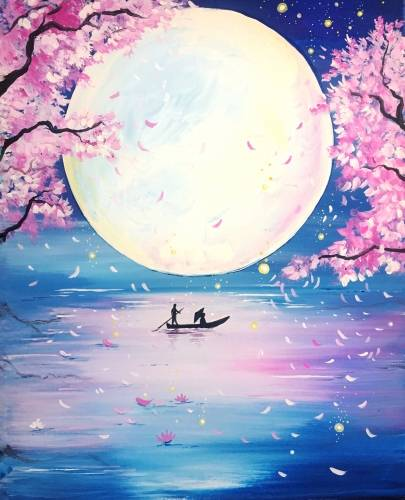 A Cherry Blossom Dreamboat paint nite project by Yaymaker