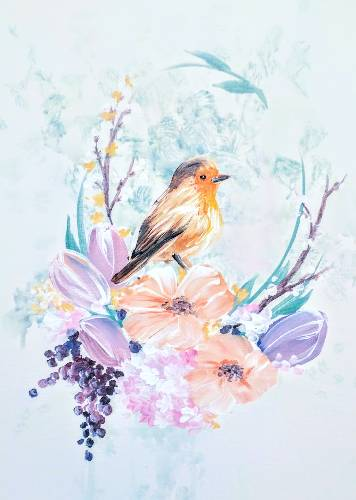 A Baby Robin On Flowers paint nite project by Yaymaker