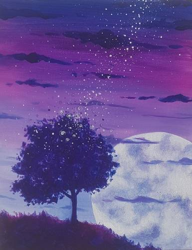 A Fireflies into the Night Sky paint nite project by Yaymaker
