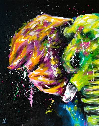 A Colorful Abstract Elephant paint nite project by Yaymaker